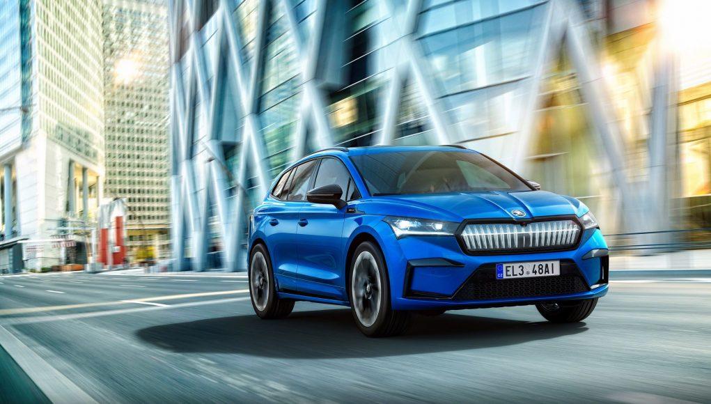 auto, modré, elektromobil, Škoda Enyaq