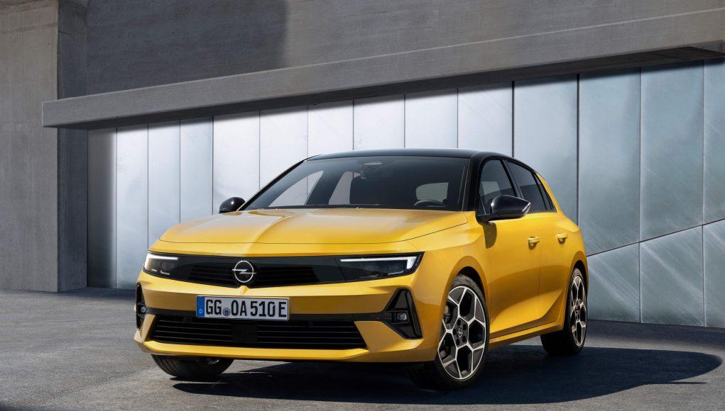 auto, žluté, opel, astra