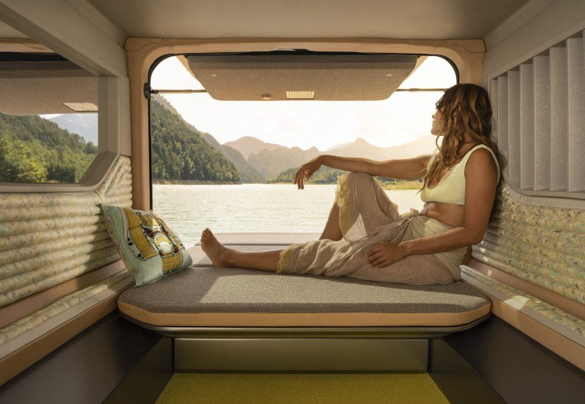 žena, okno, karavan, Renault