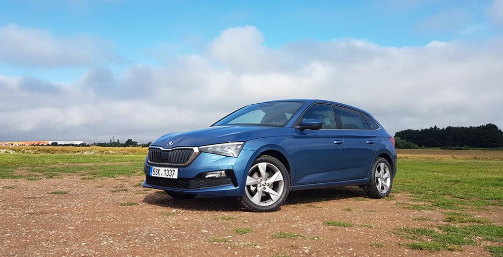 auto, modré, Škoda Scala
